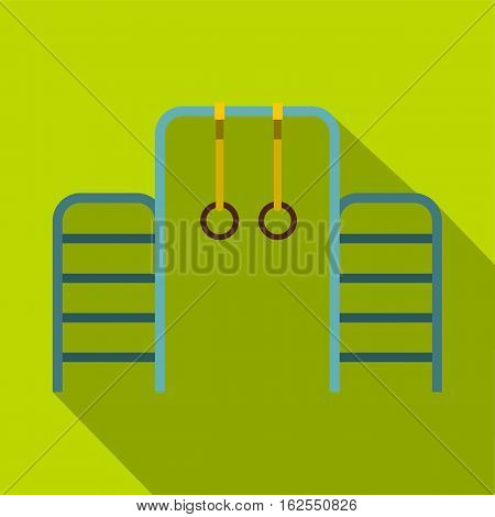 Gymnastics rings and ladder icon. Flat illustration of gymnastics rings and ladder vector icon for web isolated on lime background