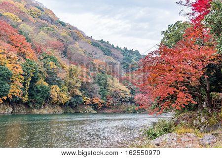 Autumn colors season in Arashiyama Kyoto Japan