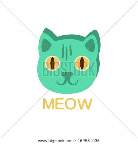 Meow And Cat Face, Word And Corresponding Illustration, Cartoon Character Emoji With Eyes Illustrating The Text. Primitive Symbol Emoticon For Messages Flat Vector Icon.