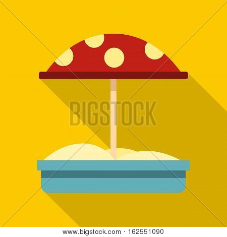Sandbox with red dotted umbrella icon. Flat illustration of sandbox with red dotted umbrella vector icon for web isolated on yellow background