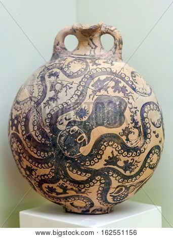 Heraklion, Greece - August 3, 2012: Kamares Style Vases From Phaistos In Archeological Museum