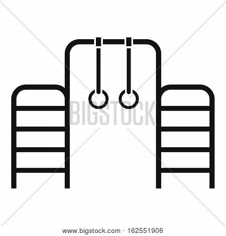 Horizontal bar with climbing rings and ladder icon. Simple illustration of horizontal bar with climbing rings and ladder vector icon for web