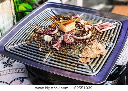 Thailand Street Food Bbq With Seafood: Squid, Fish