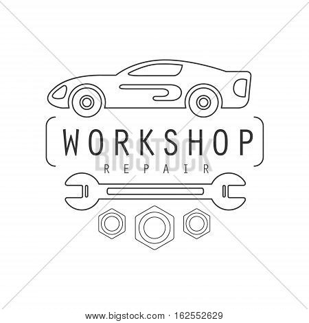 Car Repair Workshop Black And White Label Design Template With Wrench. Monochrome Vector Emblem For Auto Mechanic Service In Classic Stamp Style.