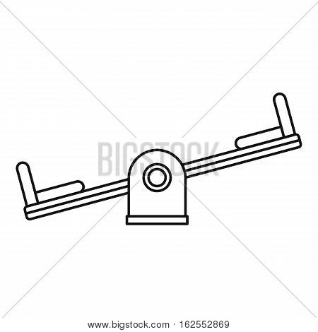 Seesaw on a playground icon. Outline illustration of seesaw on a playground vector icon for web