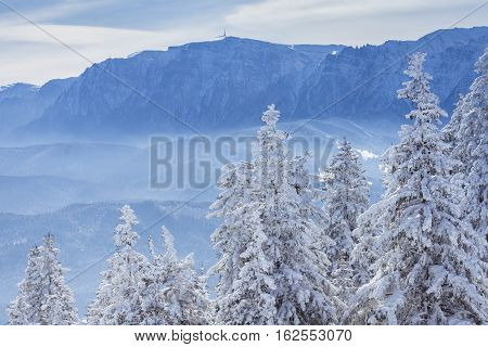 Bucegi Mountains In Winter Time.bucegi Mountain Landscape In The Winter Season With Snow Covering Th