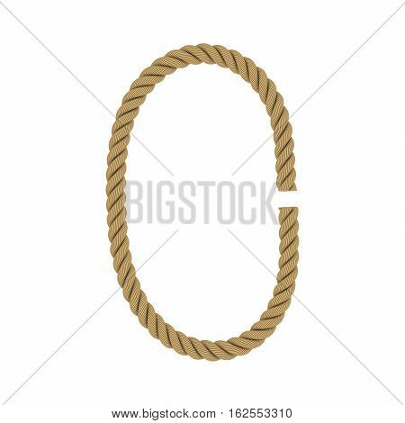 Number Zero Made From Rope Isolated On White 3D Illustration