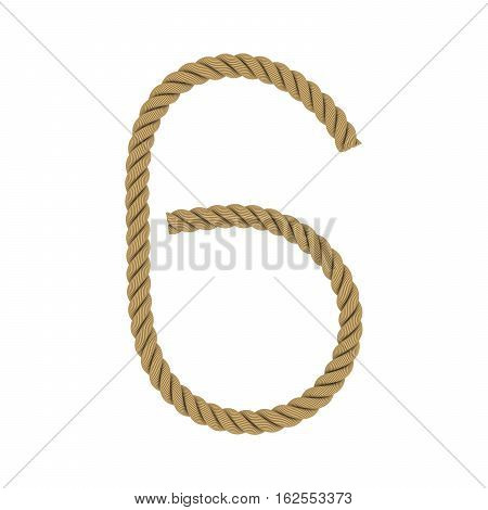 Number Six Made From Rope Isolated On White 3D Illustration