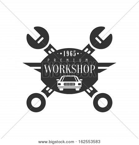 Repair Workshop Black And White Label Design Template With Crossed Wrenches And Car Silhouette. Monochrome Vector Emblem For Auto Mechanic Service In Classic Stamp Style.