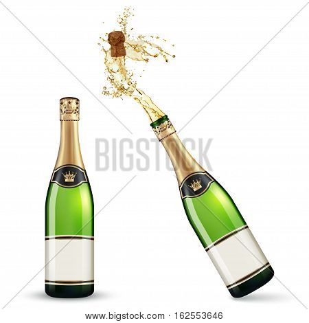 Vector bottles of Champagne isolated on white background. vector illustration
