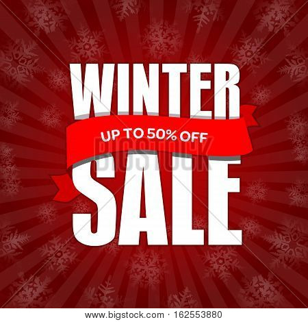 Winter Sale Badge, Label, Promo Banner Template. Up To 50% Off Discount Sale Offer. Vector Illustrat