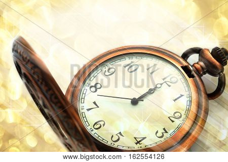 Twelve o'clock midnight in retro style blurry background image for design and other.
