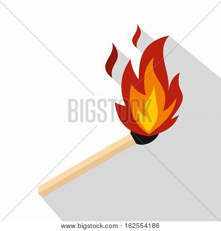 Match with fire icon. Flat illustration of match with fire vector icon for web isolated on white background