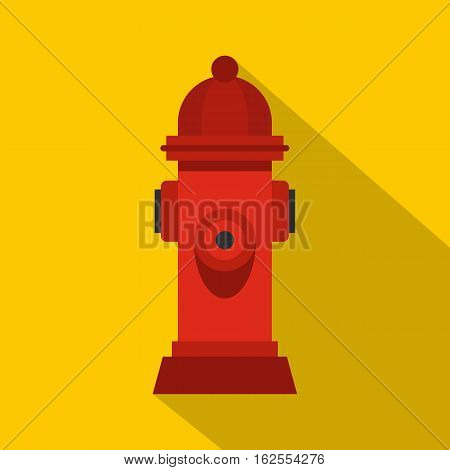 Red fire hydrant icon. Flat illustration of red fire hydrant vector icon for web isolated on yellow background