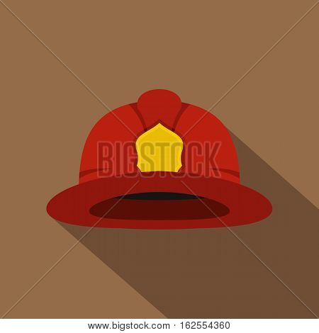 Red fireman helmet icon. Flat illustration of fireman helmet vector icon for web isolated on coffee background
