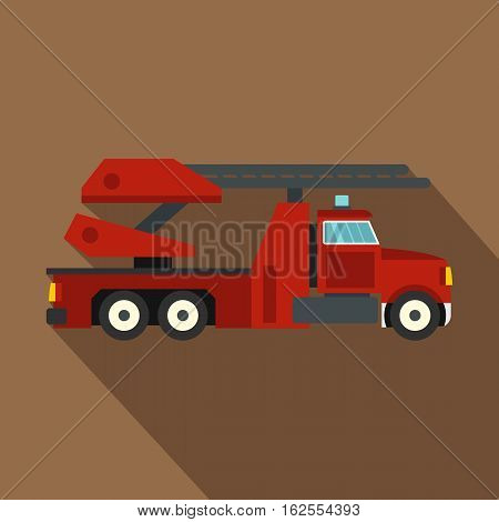 Red fire truck icon. Flat illustration of red fire truck vector icon for web isolated on coffee background