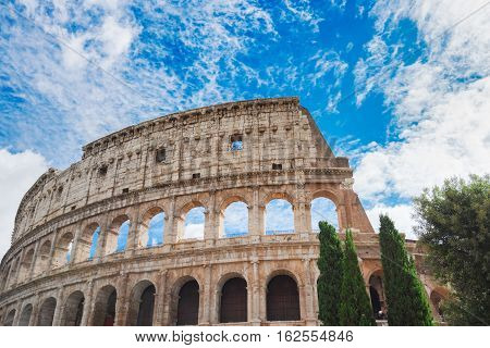 ruins of antique Colosseum, close up details of facade, Rome Italy