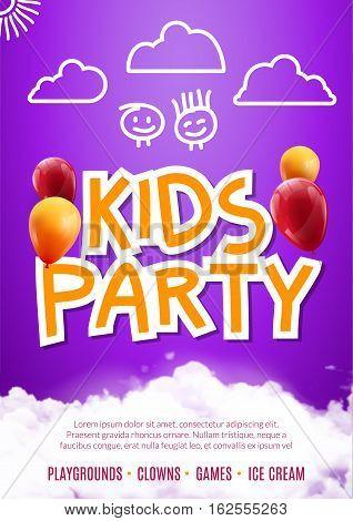 Kids party art flyer design. Balloons design poster template. Preschool Kids fun event, lovely birthday celebration flyer. Kids show greeting.