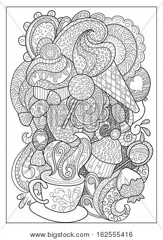 Sweet dessert and coffee outlined vector illustration for coloring. Coffee cup and sweets doodle style coloring page. Adult coloring page with ice cream lollipop cupcake sweets and strawberry