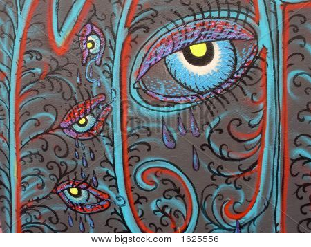 Crying eyes - strange flowers (closeup of a graffiti wall) poster