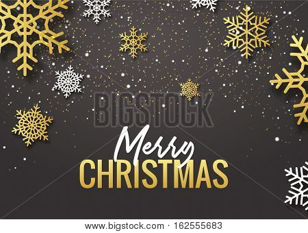 Merry Christmas poster design. Retro gold typography and ornament decoration illustration. Xmas holiday flyer or poster design template.