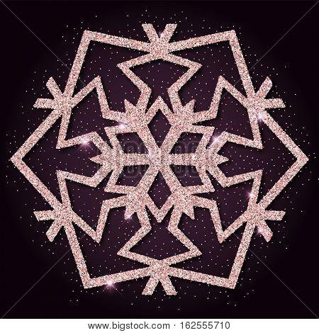 Pink Golden Glitter Charming Snowflake. Luxurious Christmas Design Element, Vector Illustration.