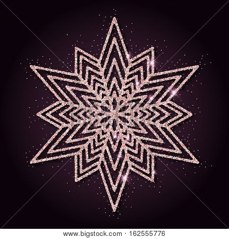 Pink Golden Glitter Bewitching Snowflake. Luxurious Christmas Design Element, Vector Illustration.