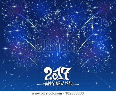 Lettering Happy New Year 2017 and sparkling fireworks on blue shiny background, holiday greeting, illustration.