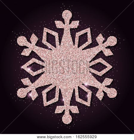 Pink Golden Glitter Astonishing Snowflake. Luxurious Christmas Design Element, Vector Illustration.