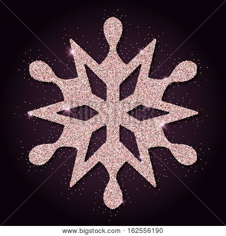 Pink Golden Glitter Majestic Snowflake. Luxurious Christmas Design Element, Vector Illustration.