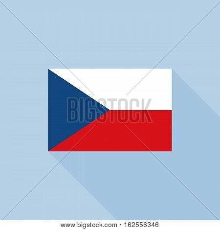Czech republic flag in official proportions, flat design with long shadow