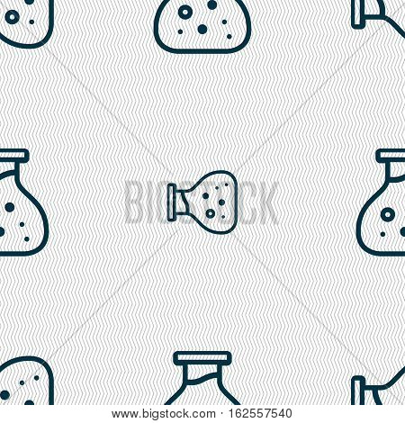 Chemical Icon Sign. Seamless Pattern With Geometric Texture. Vector
