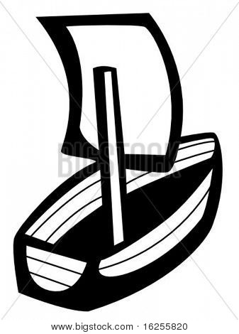 little wooden ship sailing