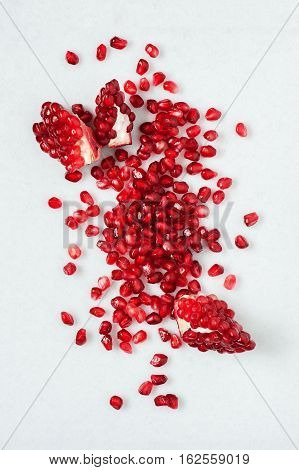 Scattered Seeds End Pieces Of Pomegranate