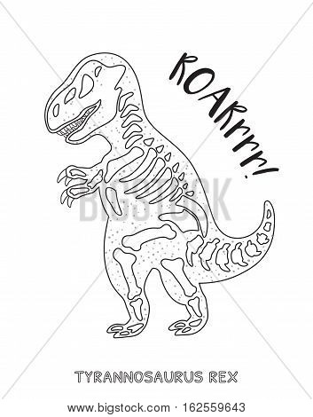 Tyrannosaurus Rex skeleton outline drawing. Fossil of a T-rex dinosaur skeleton. Coloring book page