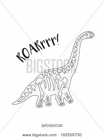 Diplodocus skeleton outline drawing. Fossil of a diplodocus dinosaur skeleton. Coloring book page