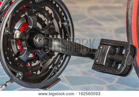 Close up of a bicycle gears mechanism and chain