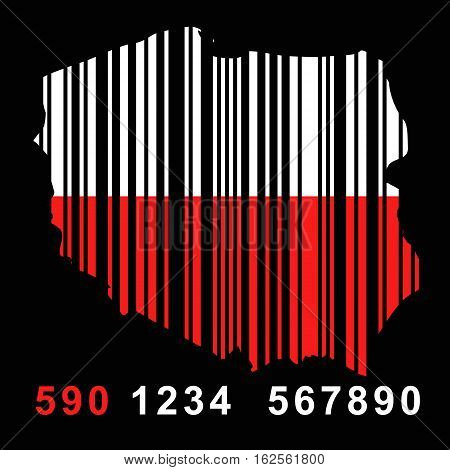 map of Poland with barcode - vector illustration