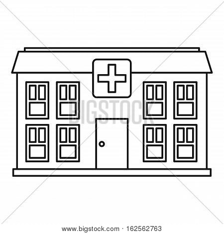 Hospital icon. Outline illustration of hospital vector icon for web