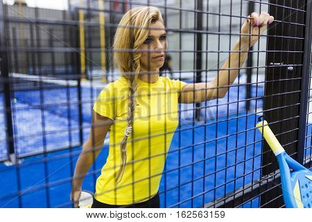 Paddle Tennis Player Preparing For Match.