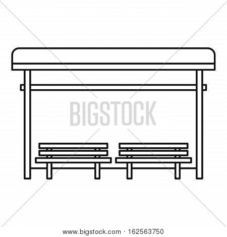 Bus stop icon. Outline illustration of bus stop vector icon for web