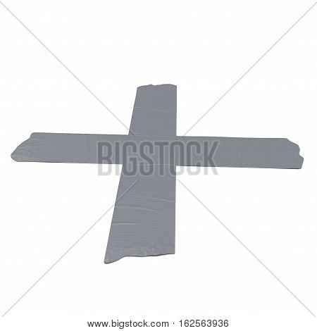 Crossed duct tape strips isolated on white background. 3D illustration