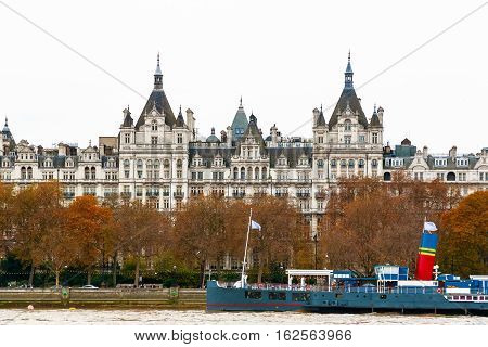 London, UK - December 21, 2016 - Exterior of the Royal Horseguards hotel seen from Southbank