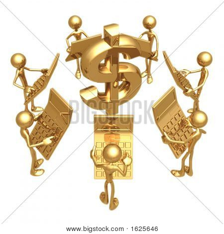 Accounting Team With Giant Golden Calculators Circling Dollar Symbol