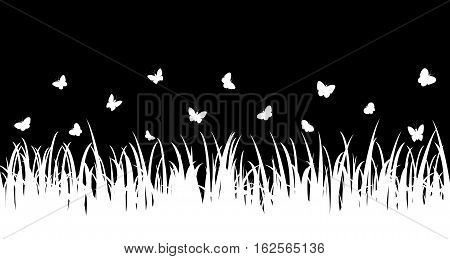 Butterflies fly over the grass and flowers. Seamless vector illustration.