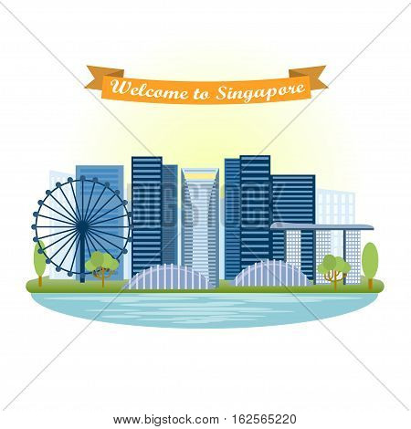 Illustration Singapore in flat style. Panoramic of city.