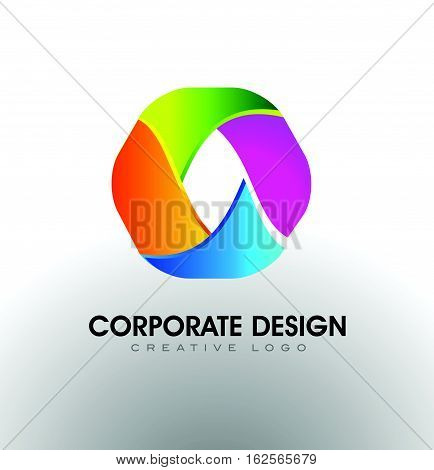 Hexagon Corporate Logo. Colorful Hexagon Icon Vector Design. Hexagonal Business Logo.