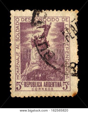Argentina - CIRCA 1946: A stamp printed in Argentina shows Monument to the Army of the Andes,  city of Mendoza, Argentina, at the General San Martin Park, circa 1946
