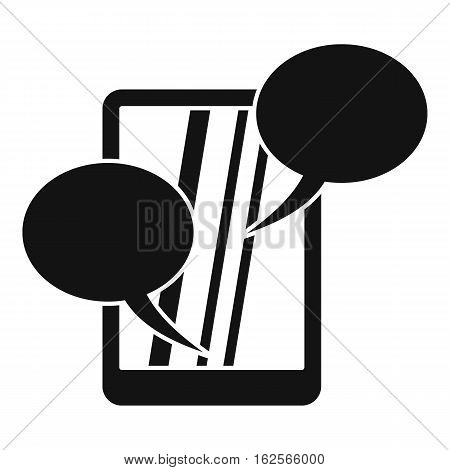 Speech bubble on phone icon. Simple illustration of speech bubble on phone vector icon for web
