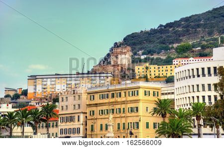 View of the city of Gibraltar, a British Overseas Territory